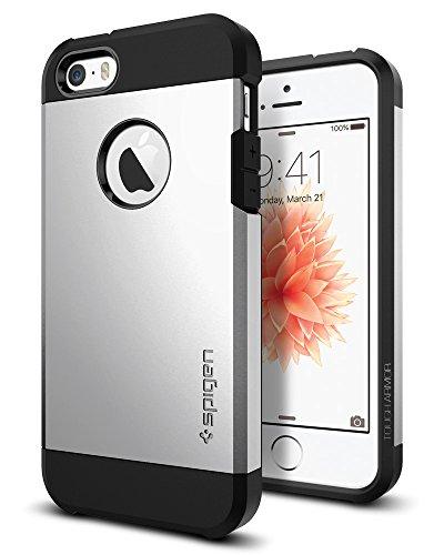 Spigen 041CS20251 Apple iPhone SE/5S/5 Schutzhülle Tough Armor Satin Silber