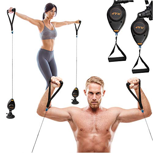 RAF Fitness Resistance Training Home Gym Equipment (5-44 lbs) | Exercise Full Body Pulley System Workout for Men and Women Weight Trainer Tension Leg Arm Thighs Biceps Triceps Chest New 2021