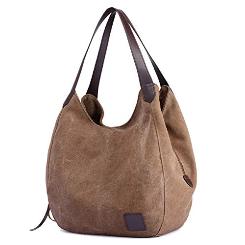 DOURR Women's Multi-pocket Shoulder Bag Fashion Cotton Canvas Handbag Tote Purse (Brown - Medium Size)