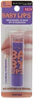 Maybelline Baby Lips Moisturizing Lip Balm SPF 20, Peach Kiss 0.15 oz (Pack of 2)
