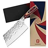 Cleaver Knife, GRANDKNIFE 7 inch Meat Cleaver, High Carbon German Stainless Steel Kitchen Knife,...