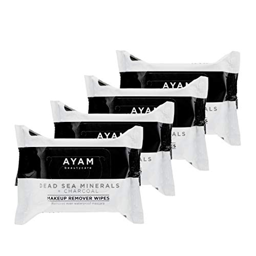 AYAM Beautycare Dead Sea Minerals + Charcoal Makeup Remover Wipes 4 Pack, Cleansing Towelettes, Removes Makeup, Deep clean, Purify and Exfoliates skin, Safe for Sensitive Skin, 25 Count each