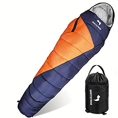 WhiteFang Sleeping Bag with Compression Sack,Wearable Portable Lightweight and Waterproof for Adults & Kids,3-4 Season Mummy Sleeping Bags Great for Hiking, Backpacking,Camping and Outdoor
