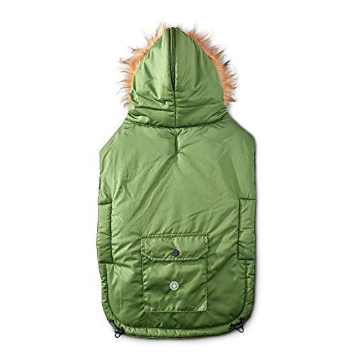 Good2Go Olive Split-Hood Parka Dog Coat, Medium/Large, Green