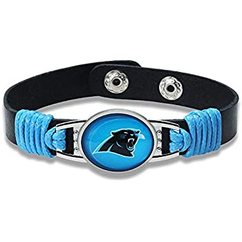 Carolina Panthers Leather Bracelet with Snap Closure 7 to 9