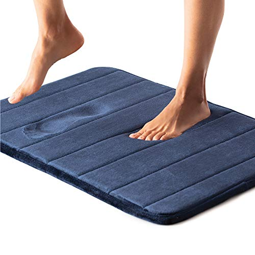 Gorilla Grip Premium Memory Foam Bath Rug, 24x17, Thick Soft Striped Bathroom Mat Rugs, Absorbent Mats, Machine Wash and Dry, Durable Backing, Luxurious Comfortable Carpets for Bathrooms, Navy Blue