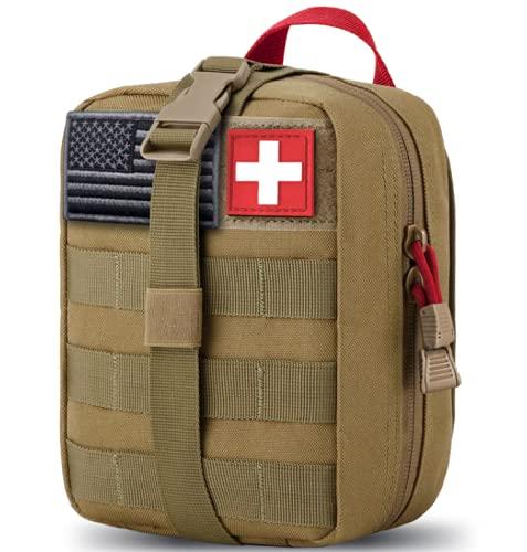Medizinische MOLLE Taktische Tasche, EMT Erste Hilfe IFAK Rip-Away Utility Pouch für Camping, Jagd, Wandern, Zuhause, Auto und Abenteuer (Rot+Braun)