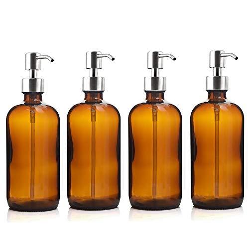 Dispensador de jabón, 4 unidades, 500 ml, botella con bomba de loción de acero inoxidable, para baño, aceites esenciales, champú, dispensador de jabón líquido, dispensador de jabón