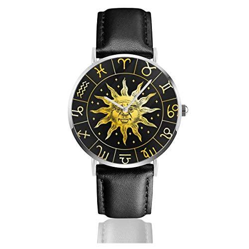 Sun Icon Astrologie Horoskop mit Zeichen Lederarmband Armbanduhren Casual Classic Edelstahl Quarz Business Watch