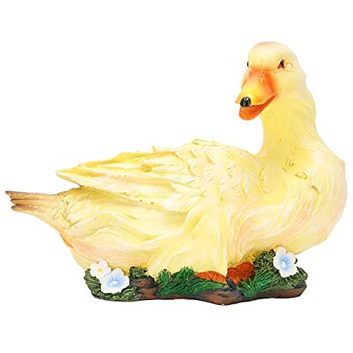 Escultura de modelo de pato artificial, linda figura de pato, manualidades creativas, exquisita mano de obra con base estable para decoración de estanque para jardín(Yellow lying duck)
