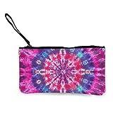 Tie-Dye - Monedero de lona para mujer, diseño de plumas de pavo real, bolsa de maquillaje con cremallera, para mujer, 11,4 x 21,5 cm