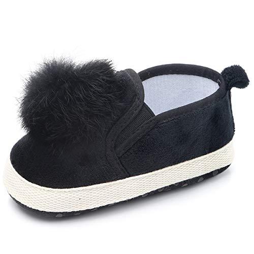 Aunavey Zapatos Planos para bebé con Suela Suave para niñas y niños con pompón, Negro, 0-6 Months Infant