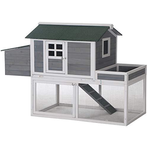 PawHut 63' Chicken Coop Wooden Hen House Rabbit Hutch Poultry Cage Pen Backyard with Garden Box, Run Area, Nesting Box, Grey