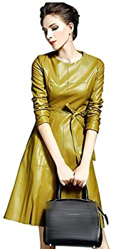 LAI MENG FIVE CATS Womens Faux Leather Fashion Midi Bodycon A-line Dress with Belted Yellow 2XL