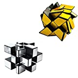 Mirror Speed Cube Set Magic Cube Pack of 2 Dysmorphism 3x3x3 Mirror Golden Wheel Cube and Mirror Silver Cube Twist Speed Cube Bundle Puzzle Games Toy for Children and Adults by AHYUAN