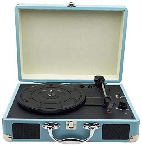 DFBGL Tocadiscos de Vinilo, gramófono Retro, Altavoz Bluetooth Retro Creativo, Tocadiscos de Maleta Azul (350 * 255 * 130MM)