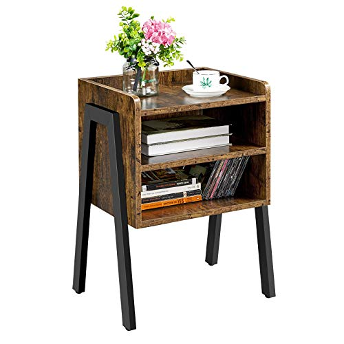 Yaheetech Industrial Nightstand Stackable Bedside Table 3-Tier End Table with Metal Frame, 2 Open Shelf Storages Side Table for Bedroom Living Room Entryway