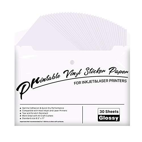 """JANDJPACKAGING Printable Vinyl for Inkjet & Laser Printer - 30 Pack Printable Vinyl Sticker Paper Glossy White - Standard Letter Size 8.5""""x11"""""""
