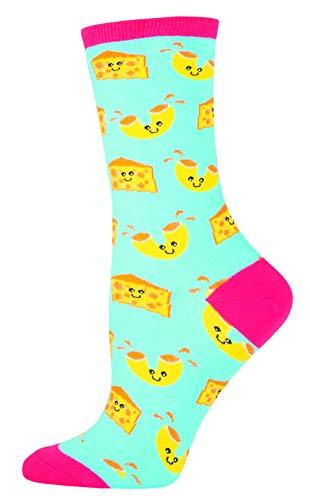Socksmith Womens Novelty Crew Socks 'Mac n Cheese' ,Bright Blue,One...