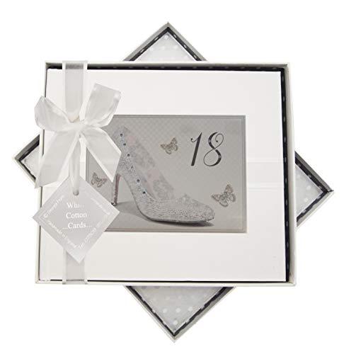 White Cotton Cards Shu18g Argent Motif chaussure d'anniversaire 18 ans livre d'or