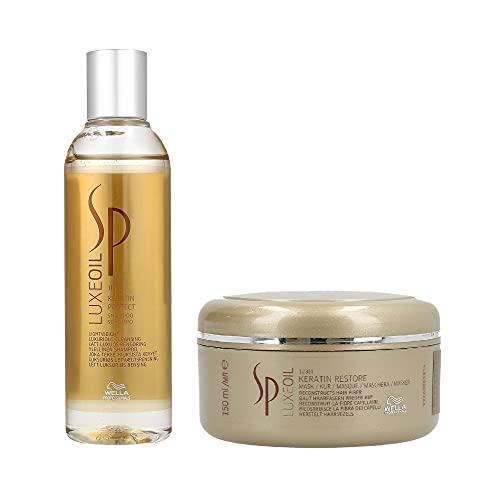WELLA SP System Professional Luxe Oil Duo Keratin Protect - Shampoo protettivo alla cheratina da 200 ml e maschera riparatrice alla cheratina da 150 ml (etichette in lingua italiana non garantite)