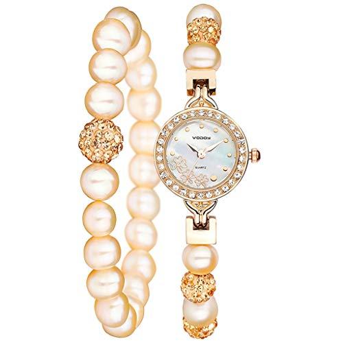Anchor Reloj Mujeres de la Perla Pulsera de Reloj de señora Trébol Moda (Color : A)