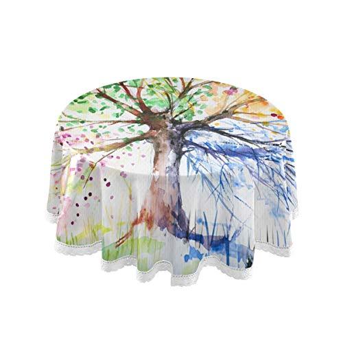 SunsetTrip - Mantel redondo para mesa de acuarela, diseño de árbol de encaje, para decoración de jardín, cena, fiesta, día festivo (60 pulgadas)