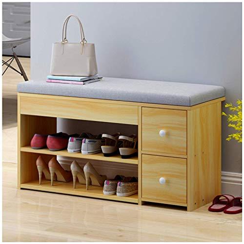 HLL Taburete de cambio de zapatos, taburete de almacenamiento de puerta moderno simple, armario de zapatos, taburete de almacenamiento creativo nórdico multifuncional, taburete de sofá,madera color