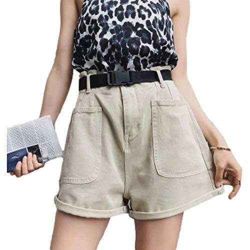 Pantalones Cortos de Mezclilla de Cintura Alta para Mujer Bolsillos de Costura de Color sólido Lavados a la Moda Pantalones Cortos básicos de Pierna Ancha Casuales de Todo fósforo XL
