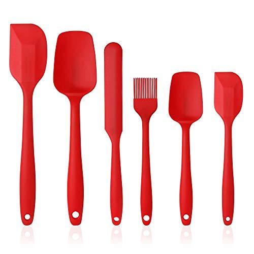 Vicloon Silikon Küchenhelfer, 6 PCS Silikon Spatel enthalten, Suppenlöffel, Backpinsel, Spatel, Hitzebeständige & Antihaft, Einem Kern Edelstahl und Nahtloses Einteiliges Design (Rot)