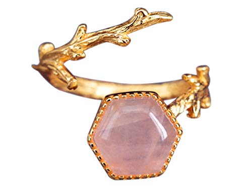 NicoWerk Damen Silberring Rosenquarz aus 925 Sterling Silber Rosa Ast Golden mit Stein Verstellbar Offen SRI396