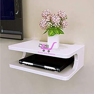Dream Arts Shoppee Set Top Box Stand Wall Shelf & WiFi Modem Display Rack for Living Room (White)