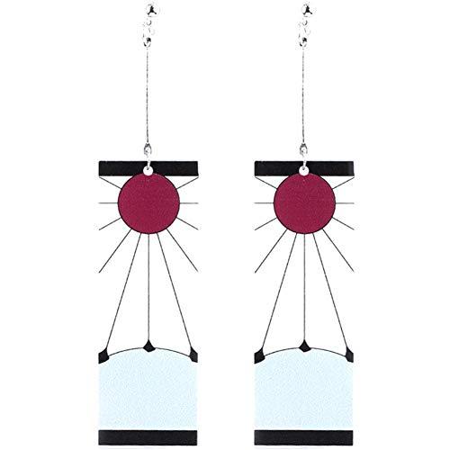 Sbarden Anime Demon Slayer Donne moda orecchini pendenti rettangolari moda geometrica selvaggia orecchini moda festa nuziale orecchini regalo gioielli(6.5cm)