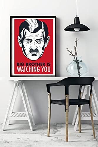 Quadro 1984 George Orwell O Grande Irmão Big Brother is watching you Com Moldura Tamanho A3