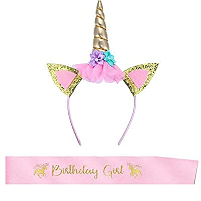 BOSSTER Unicornio Diadema Oro Diadema Cumpleaños Unicornio Banda de Pelo de Unicornio con Birthday Girl Faja para Niños Adultos Traje de Cosplay Decoración del Partido