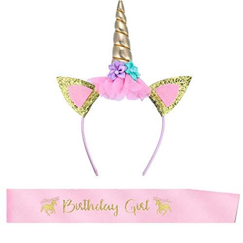 BOSSTER Einhorn Haarband Gold Einhorn Stirnband Blumen Horn Haarreif mit Birthday Girl Schärpe für Kinder Erwachsene Geburtstag Ostern Party Cosplay Kostüm Zubehör