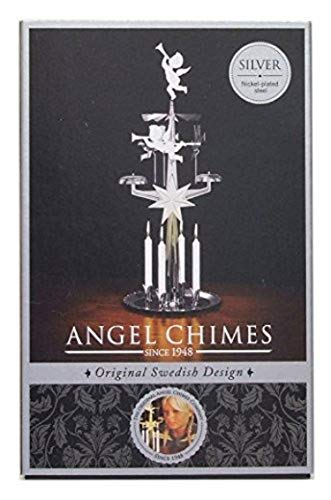 Silver Christmas Chimes - Original Swedish Angel Chimes Xmas Decoration with 4 Candles