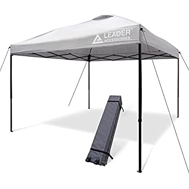 Leader Accessories 10' x 10' Instant Canopy Pop Up Canopy White Sliver Straight Leg Wheeled Carry Bag included