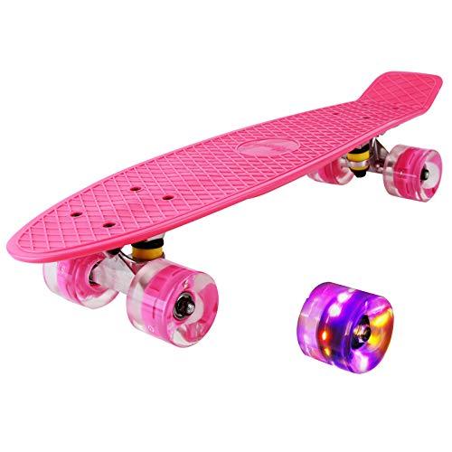 hausmelo Skateboard Mini Cruiser Retro Board Komplettboard für Anfänger Kinder Jugendliche und Erwachsene, 22 Zoll Komplett Board 57x16cm mit ABEC-7 Kugellager, LED PU Leuchtrollen, T-Tool (Rosa)