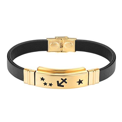 PROSTEEL Armband Fashion Echt-Lederarmband Armreif Goldenfarbig Edelstahl Horoskop Sternzeichen Schütze Manschette Armband Herren Damen Armband