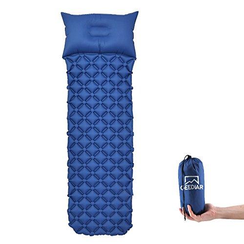 GEEDIAR Isomatte Camping aufblasbare Luftmatte mit Kissen 190x59x6 cm Farbe dunkel blau, Ultraleicht tragbare Luftmatratze für Camping Ausflug Deppel Zelt inkl. kleinem Packsack (Dunkel Blau)