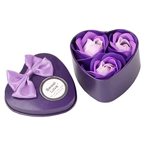 Xiton 1 paquet Rose Eternelle Savon Pétales de Rose Parfumée Savons de Bain Rose en Boîte Savon Fait Main Savons Boîte de Cadeau pour Mariage Anniversaire Saint Valentin fête des Mères (Violet)