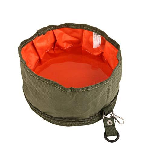 Sentaoa Hunde Katzen Haustier Outdoor Reisenapf Fressnapf Hundenapf Futternapf Wassernapf Faltbar Wasser Tasche (Armeegrün,20 * 20 cm)