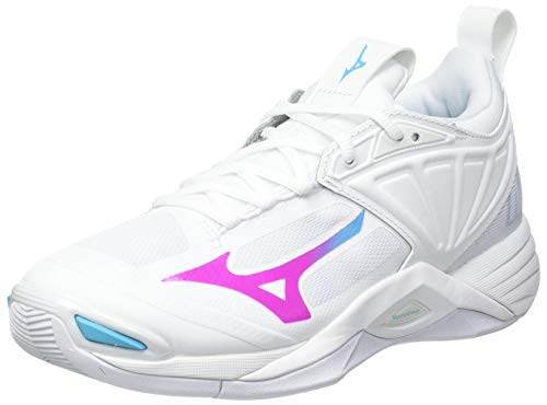 Mizuno Damen Wave Momentum 2 Volleyball-Schuh, White/PinkGlo/BlueAtoll, 39 EU