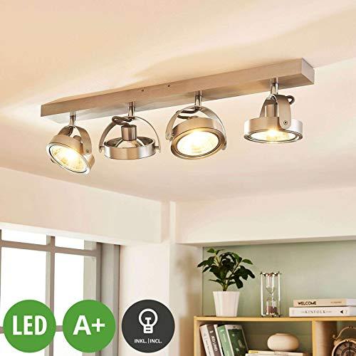 Arcchio LED Deckenlampe 'Lieven' dimmbar (Modern) in Alu aus Aluminium u.a. für Küche (4 flammig, G9, A+, inkl. Leuchtmittel) - Deckenleuchte, Wandleuchte, Strahler, Spot, Lampe, Küchenleuchte