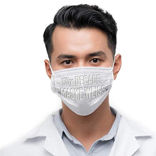 DECADE® 50x Einweg Masken Gesichtsmaske Vlies Einwegmaske Mundschutz Staubschutz mit Ohrschlaufen Farbe WEIß Weiss Atemmaske Atemschutzmaske 3lagige Maske