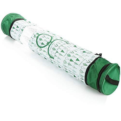 com-four® Geschenkpapier Aufbewahrung - Geschenkpapier Organizer - Geschenkpapiertasche - Aufbewahrung für Geschenkpapierrollen (weiß/grün)