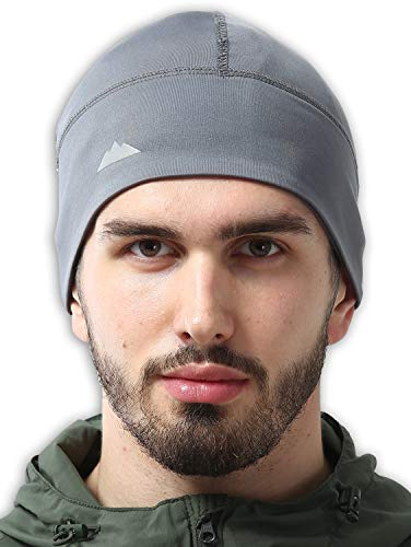 Skull-Mütze / Laufmütze, für den Winter, Thermo-Unterhelm, Radsport, ultimativer Feuchtigkeitstransport, Grau, Einheitsgröße