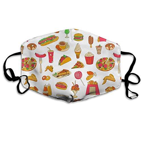 Polyester Anti-Dust Mond Masker - Space Wolf Liefhebbers Gewassen Herbruikbare Mond-Muffle - Mode Gedrukte Gezichtsmaskers voor Outdoor Fietsen Eén maat Pizza Hot Dog Donut Chips Voedsel