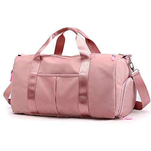 Forestfish Sports Gym Bag Travel Duffel Bag with Dry Wet Pocket & Shoes Compartment for Women and Men (Pink)